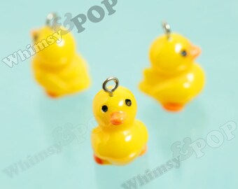 3D Resin Yellow Rubber Ducky Charms, Duck Charms, Duck Pendant, 17mm x 21mm (R8-075)