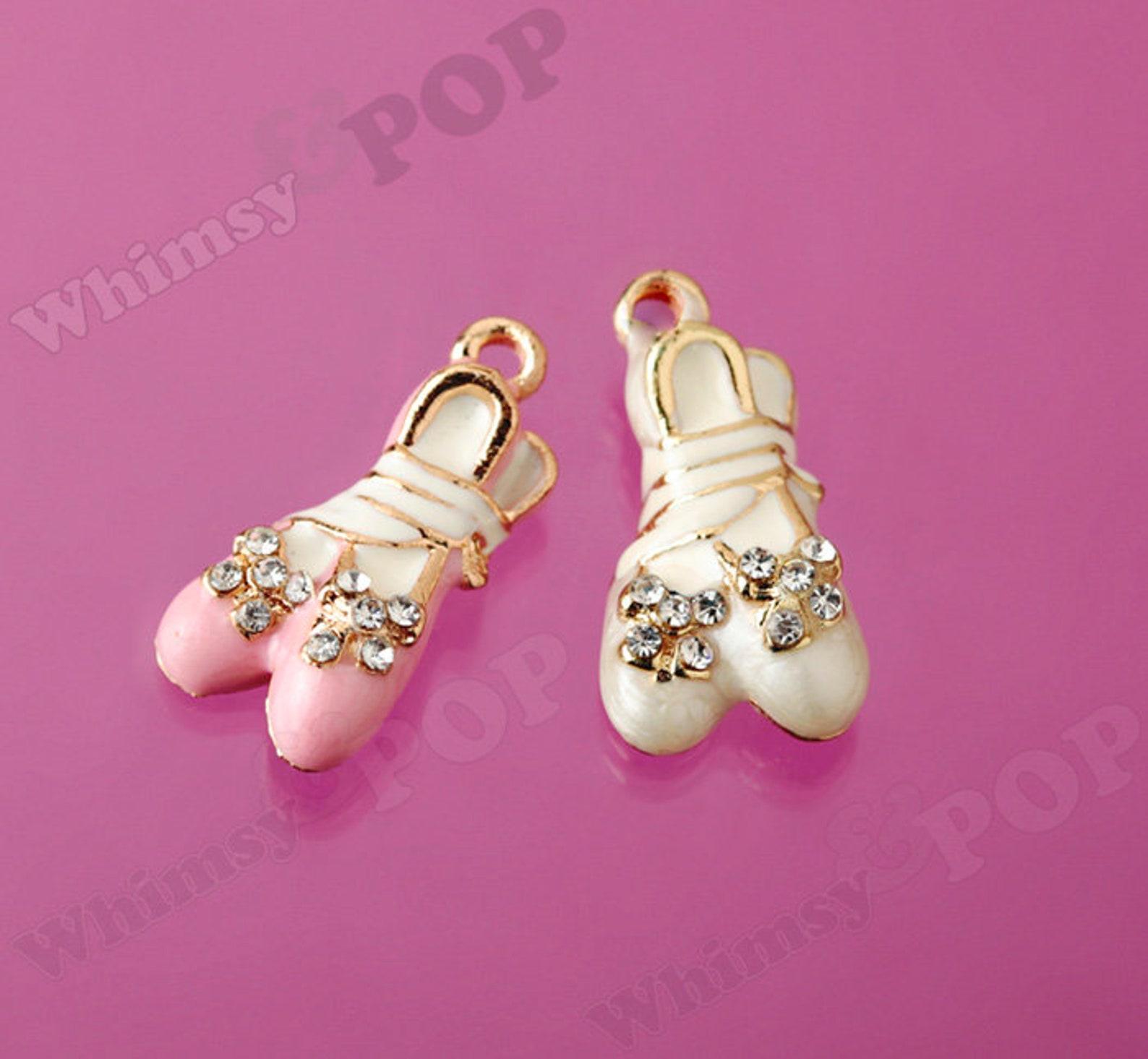 1 - 3d crystal rhinestone pink white enamel ballerina ballet slipper gold tone kawaii charm, ballet charm (3-6e)