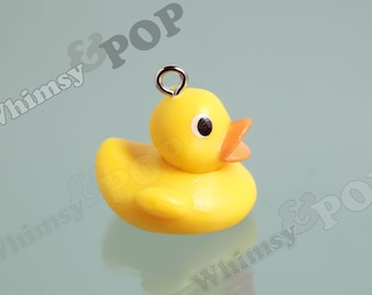 3D Yellow Rubber Ducky Charms, Duck Charms, Duck Pendant, 25mm (R6-021)