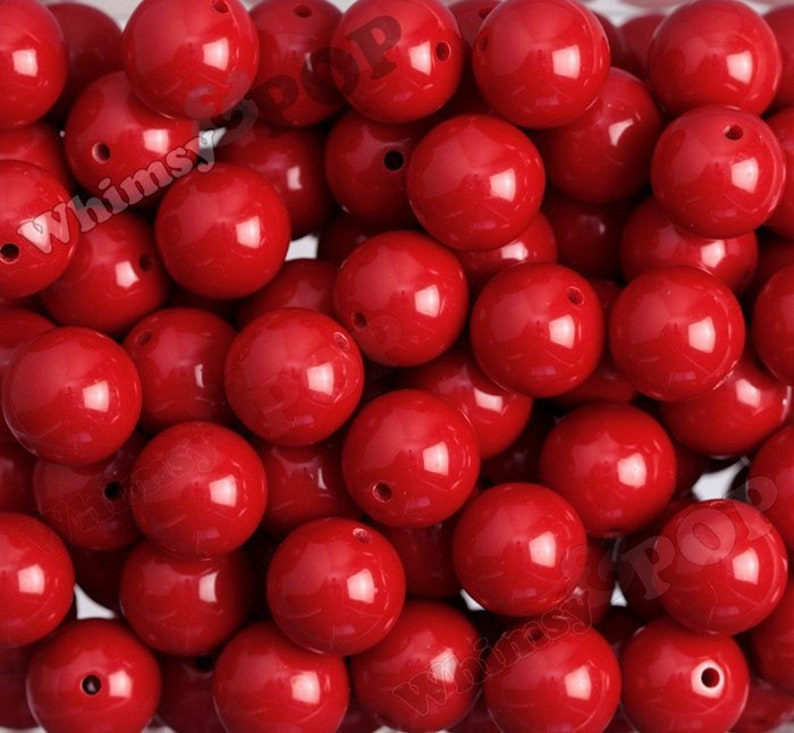 20mm  5 or 10 PACK of Cherry Red Gumball Beads Bubblegum image 0