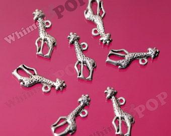 Tibetan Silver Jolly Giraffe Charms, Giraffe Pendants, Zoo Animals, Giraffe Charm, 22mm x 10mm (R3-182)