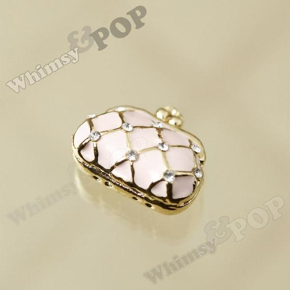 fd5b947fc5 1 3D Gold Tone Purse Handbag Charm Pink Enamel Crystal