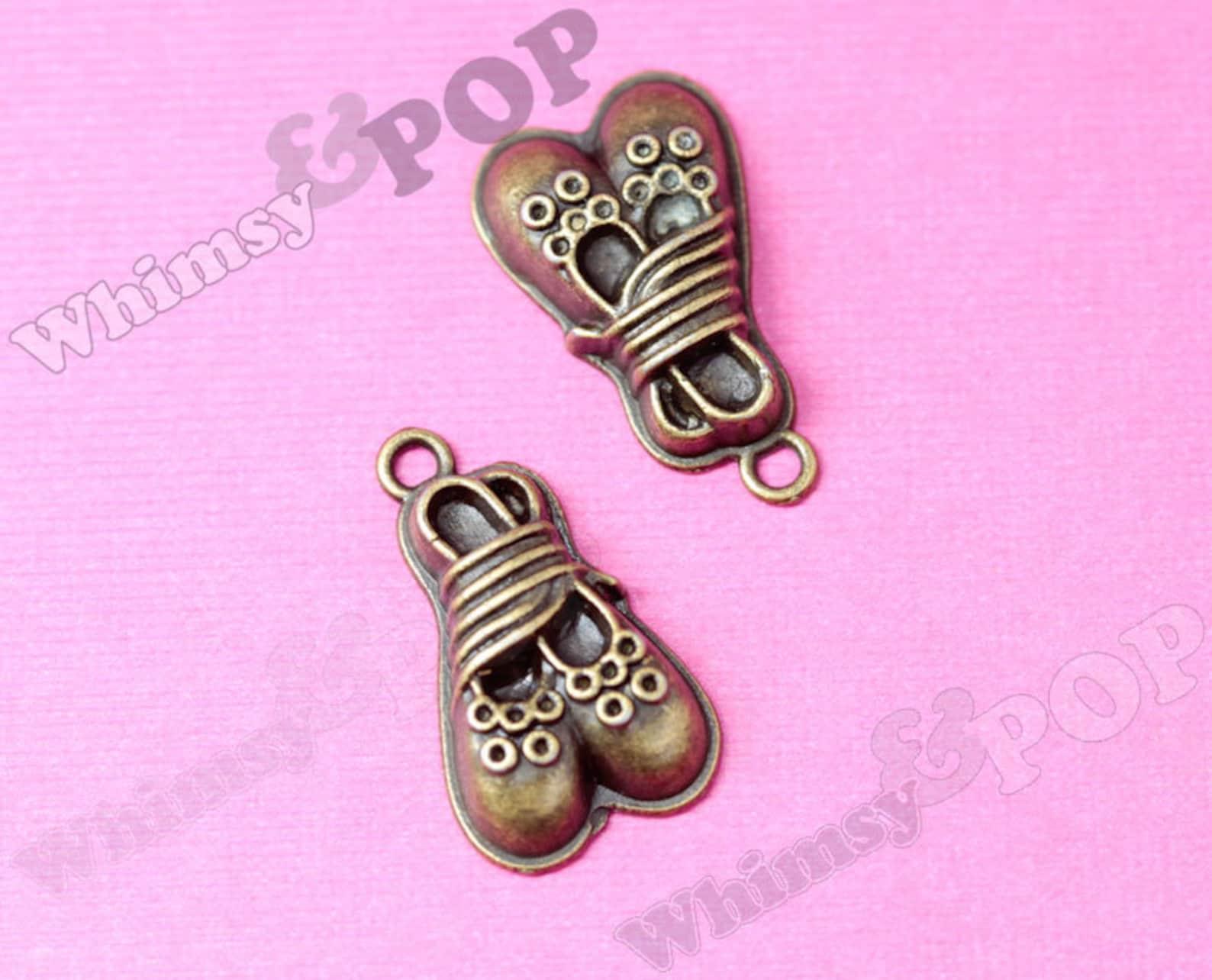 dollar sale antique bronze ballerina ballet shoe charm, shoe charm, ballet charm, slipper charm, dancing charm 24mm x 14mm (r9-0