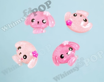 4 - Kawaii Glitter Pink Puppy Deco Resin Flatback Cabochons, Dog Cabochons, Kawaii Dogs (R6-134)
