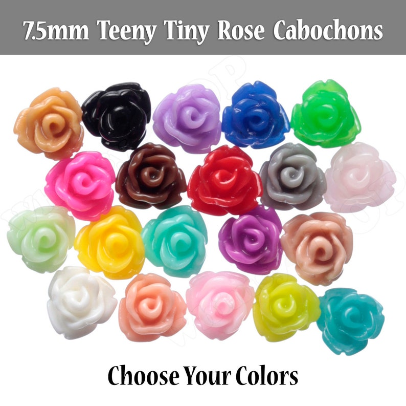 7.5MM Teeny Tiny Rose Cabochons Rose Shaped Flatback image 0