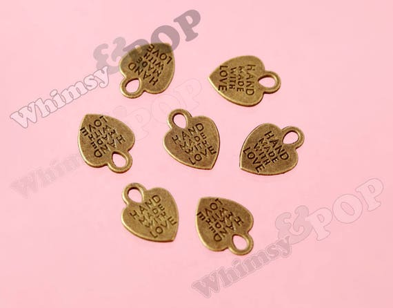 HANDMADE WITH LOVE Charm Tags HEART Nickel//Gold 16mm