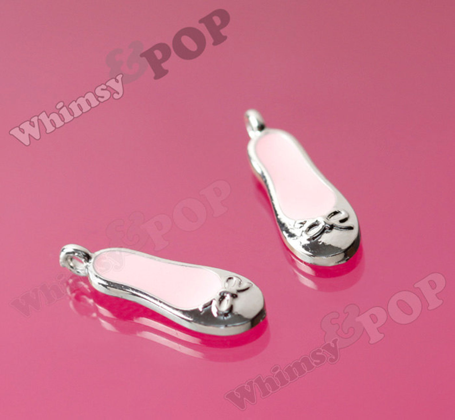 dollar sale ballet shoe charm, silver pink enamel ballerina ballet slipper charm, ballet charm, ballet slipper charm, 22mm x 7.5