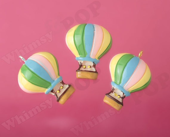 30mm Silver Yellow Plated Hot Air Balloon Charm