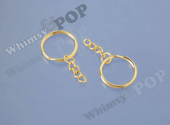 GOLD KEYCHAIN PLAIN ROUND WITH KEYCHAIN CRAFTS FINDINGS KEYRINGS 20MM