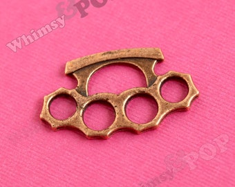 1 - Brass Knuckles Charm, Copper Finish Knuckle Buster Pendant, 32mm x 20mm (4-5D)