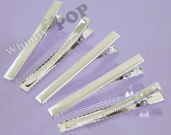 20 - LARGE Silver Prong Barrettes Hair Alligator Clips, Hair Accessory Blanks, 77mm x 16mm (C1-10)