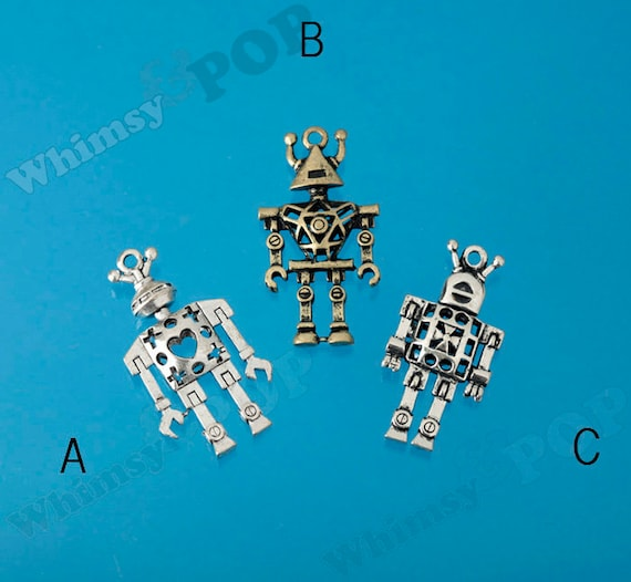 4 x 3D Charms Balloon Dog Silver Tone Pendants Chunky Dog Charms Copper
