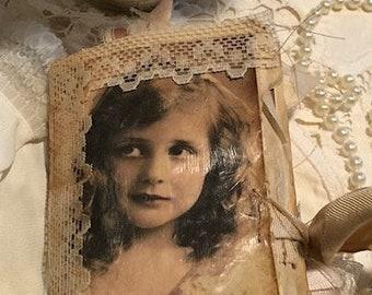 Vintage Journal, Lace Journal, Little Girl Journal, Sari Ribbon Journal, Handmade Journal, Junk Journal, Vintage Lace