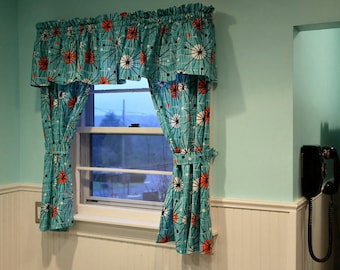 valance or panel retro look turquoise atomic print eames style 12 14 18 24 32 lined or unlined - Retro Curtains