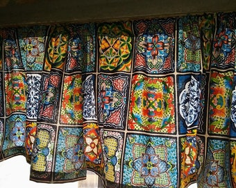 """MEXICAN Fiesta TILE Print  Valance or Panel  NO top Ruffle Version 40 x 14"""" 18"""" 24"""" or 32"""" Lined or unlined"""