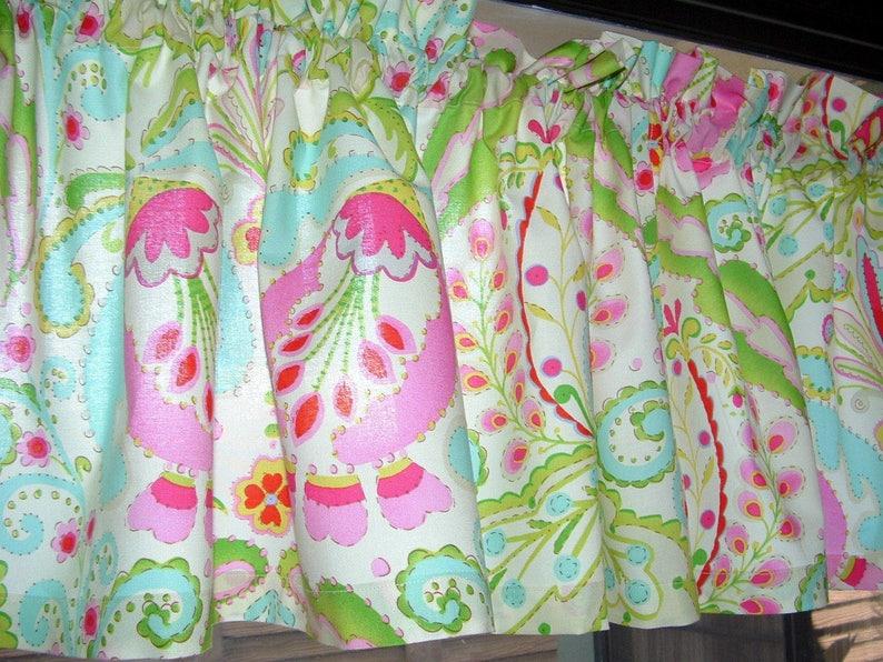 Kumari GARDEN FLORAL print Valance Cotton  Window Treatment Kumari Valance 40 Wide x 9 Long Unlined or Lined