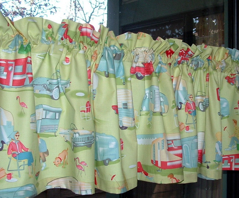 Valance or Panel Cotton TRAILER 1940s 1950s HAPPY Campers  Print 12 14 18 24/' 32 Lined or Unlined