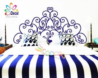 Headboard Decal Vinyl Wall Decal Headboard Wall Sticker King Queen Full Twin