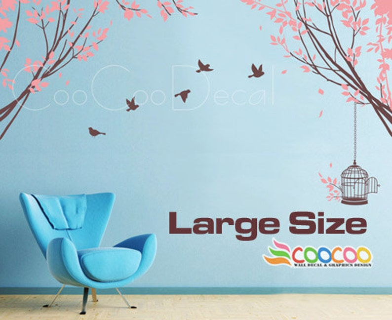 Tree Wall Decal Nursery Wall Decal Vinyl Wall Sticker Removable Tree and Birds Spring Tree 2 LARGE SIZE