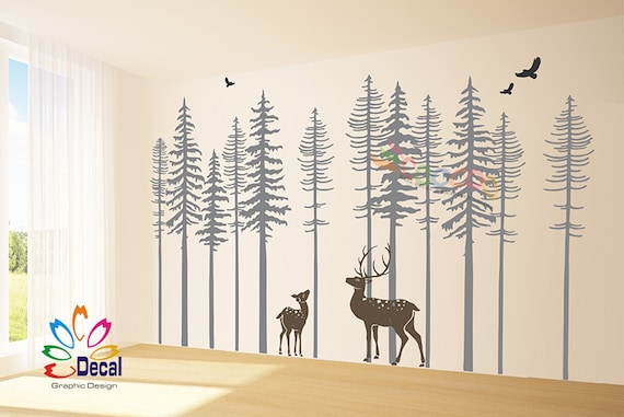 pine tree forest wall decals forest mural forest scene | etsy