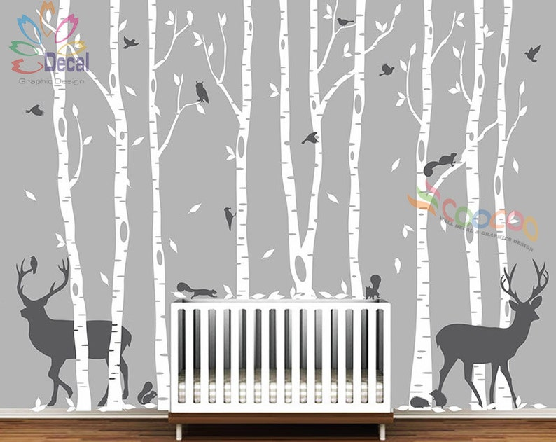 Removable Nursery Birch Tree Forest with Birds and Deer buck and squirrels 9 trees DC0128B