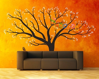 Wall Decal Tree Wall Sticker Large Family Tree Photo Frames Removable  DC100A 2 colors with Owl