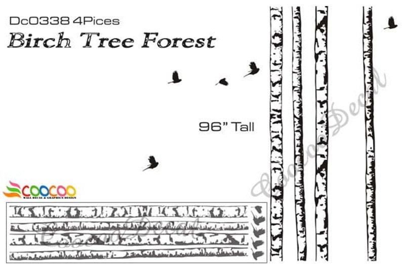 Wall Decor Decal Sticker vinyl large birch tree forest DC338