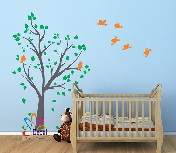 wall decal sticker removable nursery tree fat birds dc126 | etsy