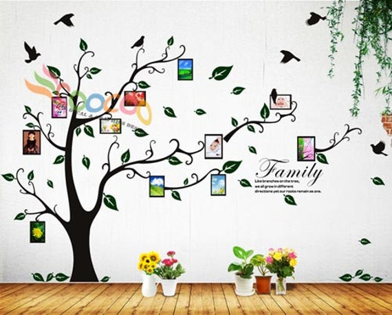 Photo Frame Tree Wall Decal Quote Family Tree Wall Decal Vinyl Etsy
