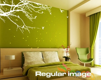 """Tree Wall Decal Large Vinyl Wall Decal Tree Nursery Wall Decal Nursery Wall Sticker 60""""W 2 Colors"""