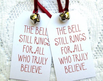 Polar Express Bell Tags, Christmas Tags, Book Quote Tags