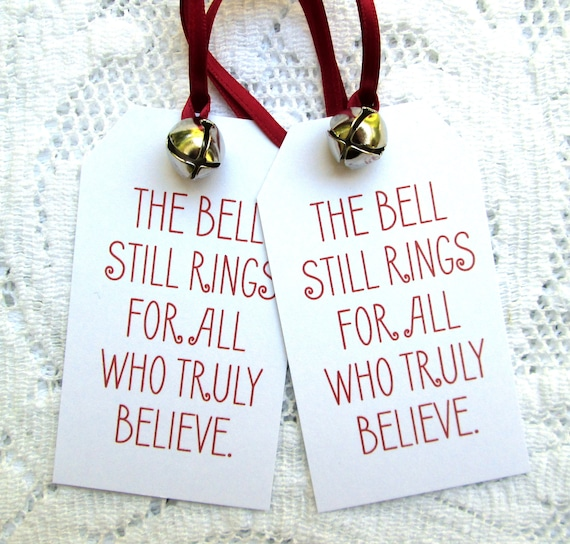Polar Express Bell Tags, Christmas Tags, Book Quote Tags (12)