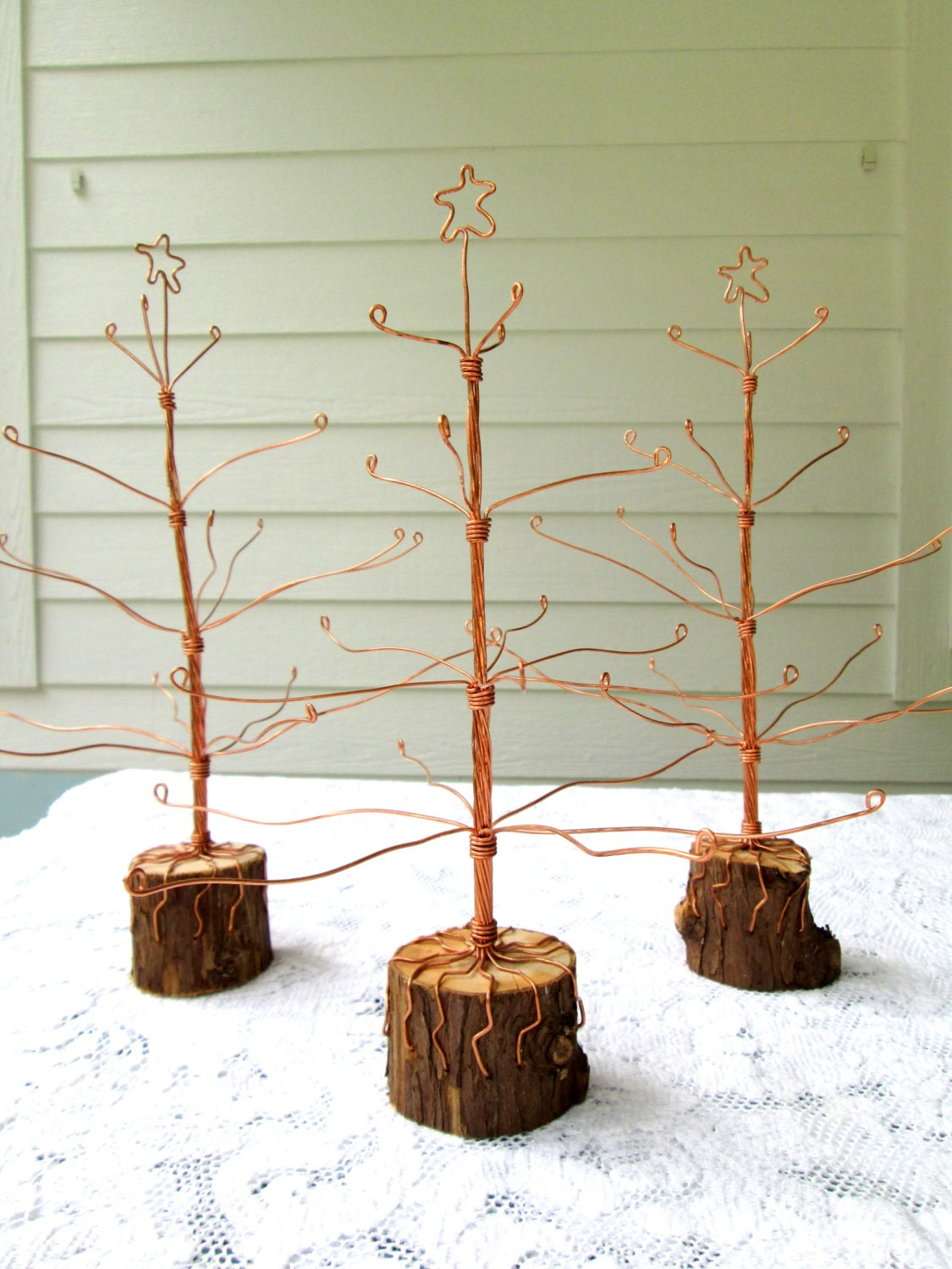 recycled copper wire christmas tree etsy. Black Bedroom Furniture Sets. Home Design Ideas