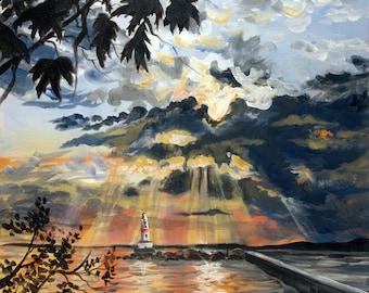 Sunrise at Presque Isle Breakwall Print ,Marquette,Mi.