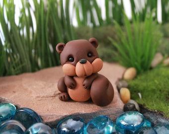 Polymer Clay Squirrel - Miniature Squirrel -  Terrarium Accessory - Fairy Garden - Miniature Garden