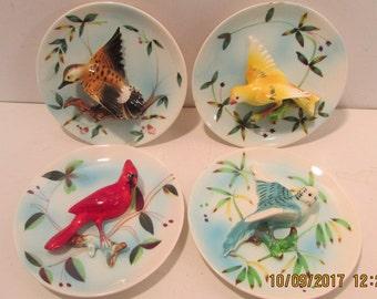 4 Vintage 3D Porcelain Bird Wall Plates