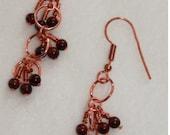 Copper Brown Glass Dangle Earrings