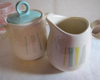 Vernon Ware Cream Pitcher and Sugar Bowl with Lid - Aqua, Cream, Gray, Yellow