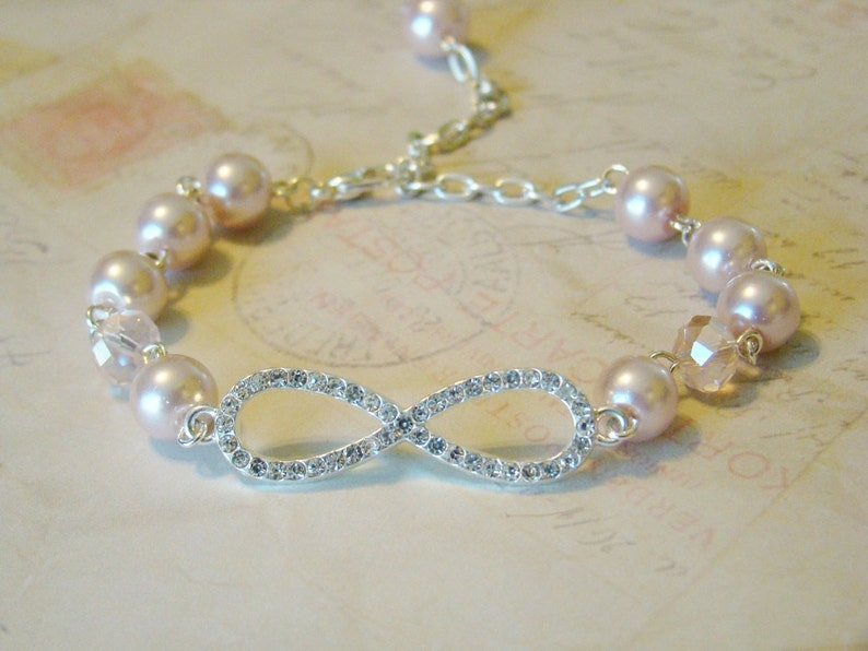 Crystal Infinity Knot and Pink Pearl Bracelet,Endless Love,Bridal Jewelry Silver Infinity Knot,Sister Love Mothers Day,Crystal Infinity Knot