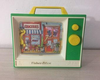 Vintage Fisher Price Sesame Street Musical Television ~ Works!