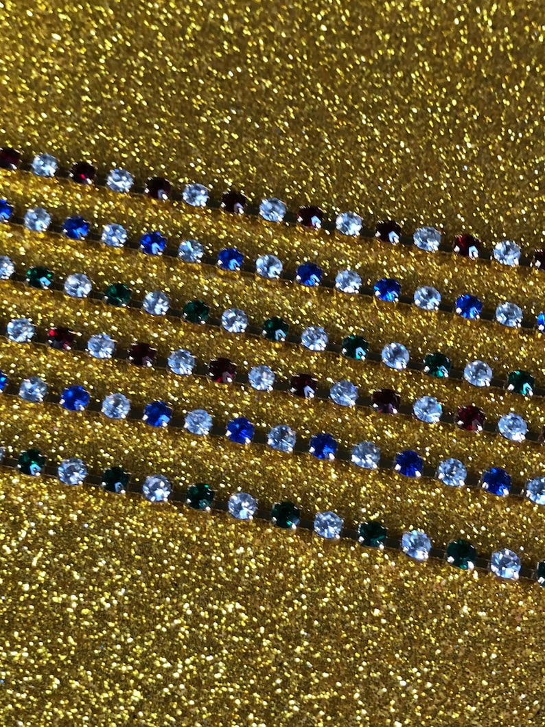 AVON Never Worn Vintage Goldtone Sparkling Sapphire Blue And Clear Crystal Rhinestone Tennis Bracelet Size Large ~  FREE Shipping!