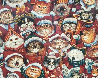 Sealed Deadstock Vintage 1000 Piece Santa Claws Christmas Jigsaw Puzzle Featuring All Different Cats ~ Cat Lovers ~ Christmas Puzzles