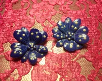 Wonderful Vintage Metal Lavender Flower Earrings Adorned With Polka Dots ~ Post Back Earrings