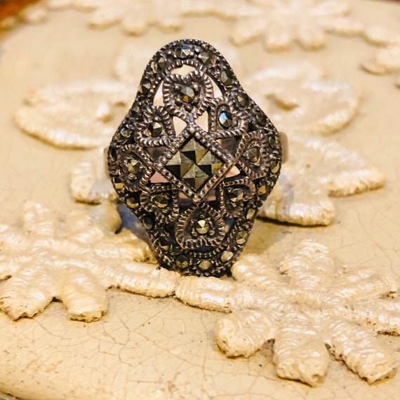 Art Deco Sterling Silver & Marcasite Vintage Ring