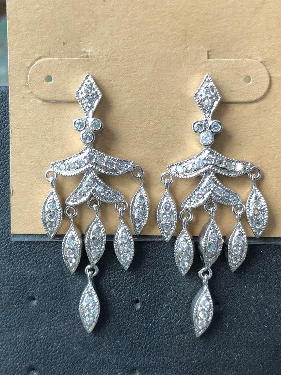 Sterling silver & white topaz chandelier earrings