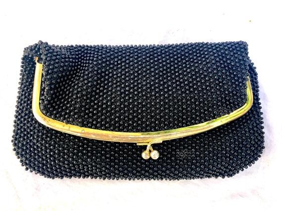 Vintage Black Plastic Bubble Bead Clutch Purse