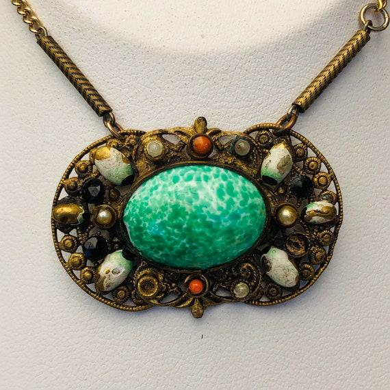 Bronze RARE Vintage Cherub On Green Art Glass Cabochon Pendant 1920s
