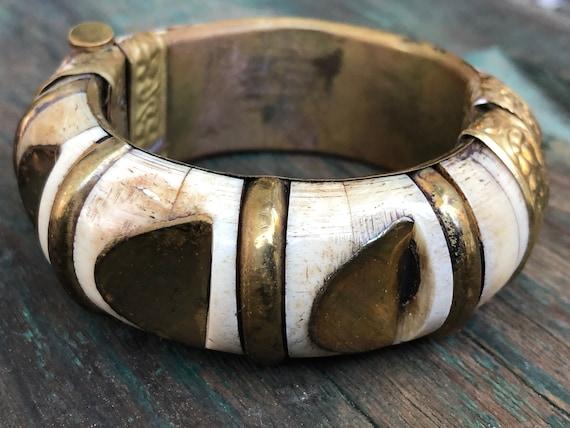 Sold Separately Chunky Bangle Bracelets Thick Antiqued Brass Bracelet Thick Wood-Carved Bracelet