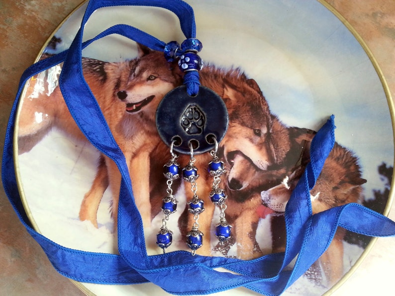 Beautiful Ceramic Wolf Paw Print Necklace on Silk Ribbon image 0