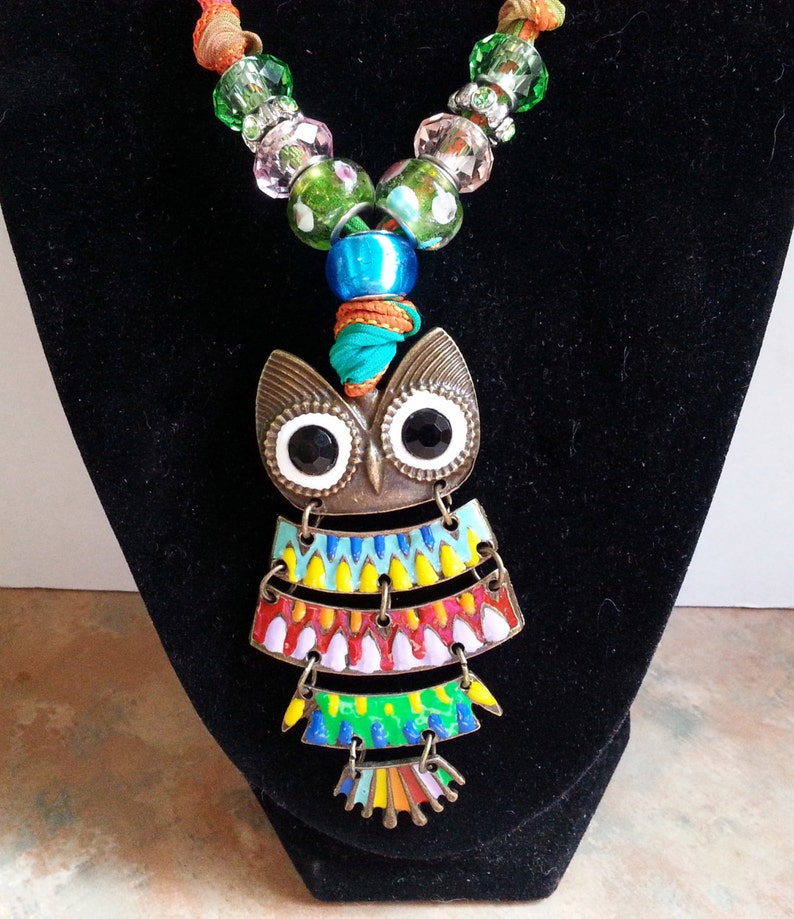 Whimsical Colorful Owl Silk Ribbon Necklace/Pendant image 0